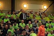 HÅNDBOLD: Nordsjælland Håndbolds formand Jørgen Simonsen blandt klubbens fans før kampen i Herre Håndbold Ligaen mellem TMS Ringsted og Nordsjælland Håndbold den 25. februar 2019 i Ringsted Sportscenter. Foto: Claus Birch.