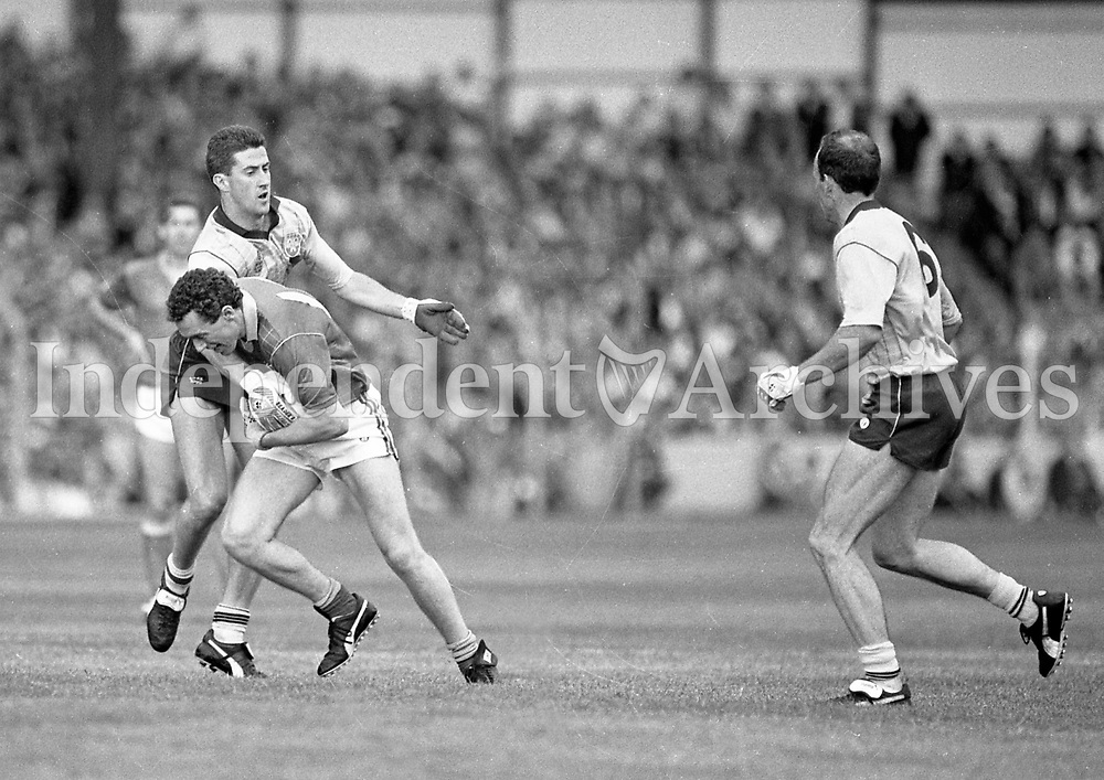 790-630<br /> Leinster Football Final at Croke Park, Dublin v Meath, 29th July 1990:<br /> Action during the match.<br /> Meath 1-14 Dublin 0-14<br /> Pic: Dara Mac Donaill, 29/7/90<br /> (Part of the Independent Newspapers Ireland/NLI Collection)