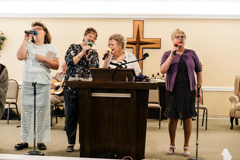 The church choir sings during service at Full Gospel Pentecostal Church in Martinsburg, WV on June 4, 2017.