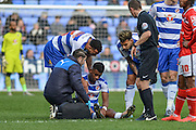 Reading FC midfielder Aaron Tshibola down injured during the The FA Cup fourth round match between Reading and Walsall at the Madejski Stadium, Reading, England on 30 January 2016. Photo by Mark Davies.