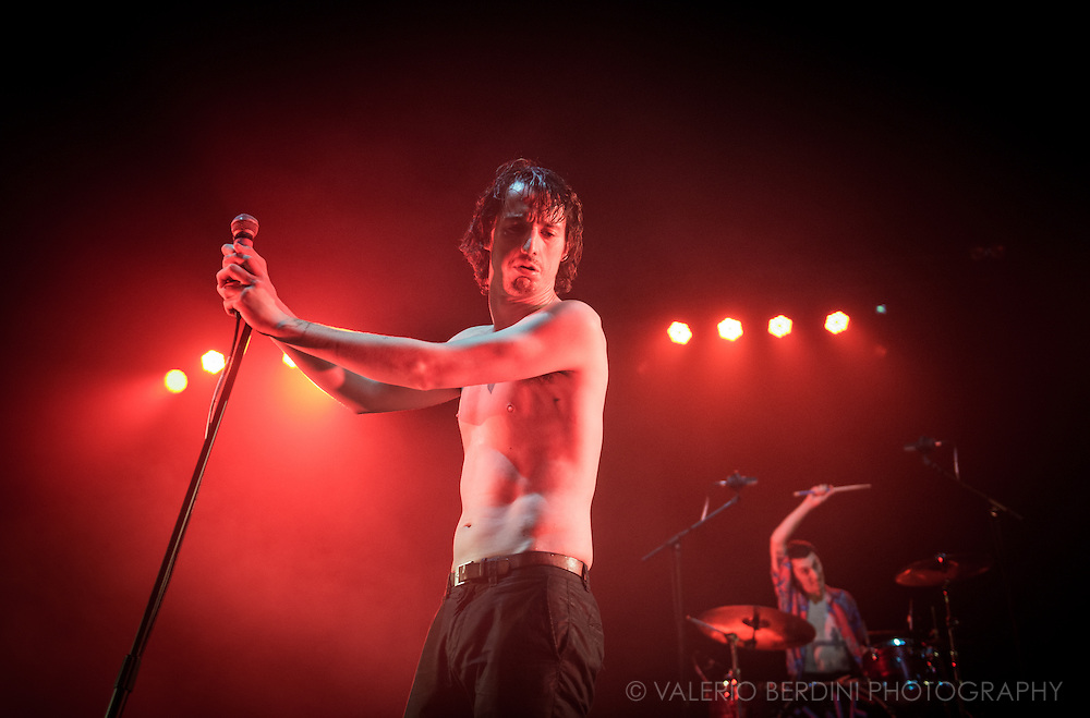 Fat White Family playing live at the Brixton Academy, their biggest show to date. 17 September 2016, London.<br /> <br /> This image was published by The independent in UK on 19 September 2016.<br /> http://www.independent.co.uk/arts-entertainment/music/reviews/fat-white-family-brixton-academy-london-review-one-of-the-best-live-bands-in-the-country-a7317141.html