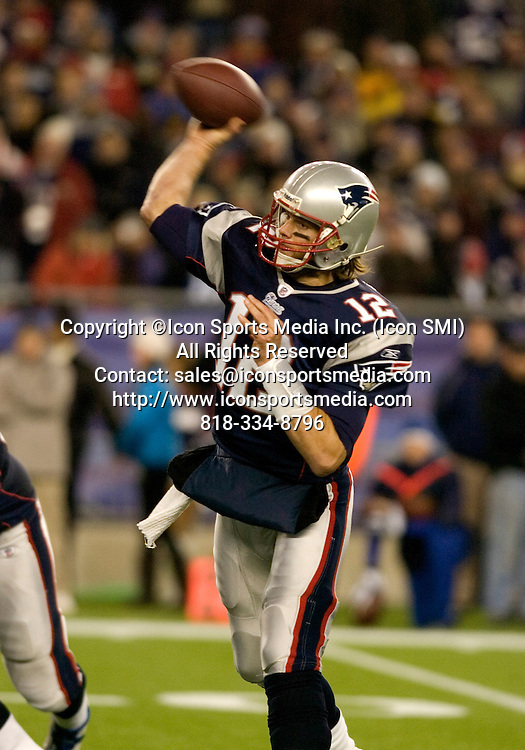 21 November 2010.   Patriot Quarterback Tom Brady (12) with a second quarter pass.  The New England Patriots hung on to defeat the Indianapolis Colts 31 to 28 in Gillette Stadium on a Sunday afternoon game.