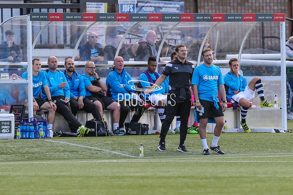 Forest Green Rovers manager, Mark Cooper and Forest Green Rovers assistant manager, Scott Lindsey during the The FA Cup 4th qualifying round match between Sutton United and Forest Green Rovers at Gander Green Lane, Sutton, United Kingdom on 15 October 2016. Photo by Shane Healey.