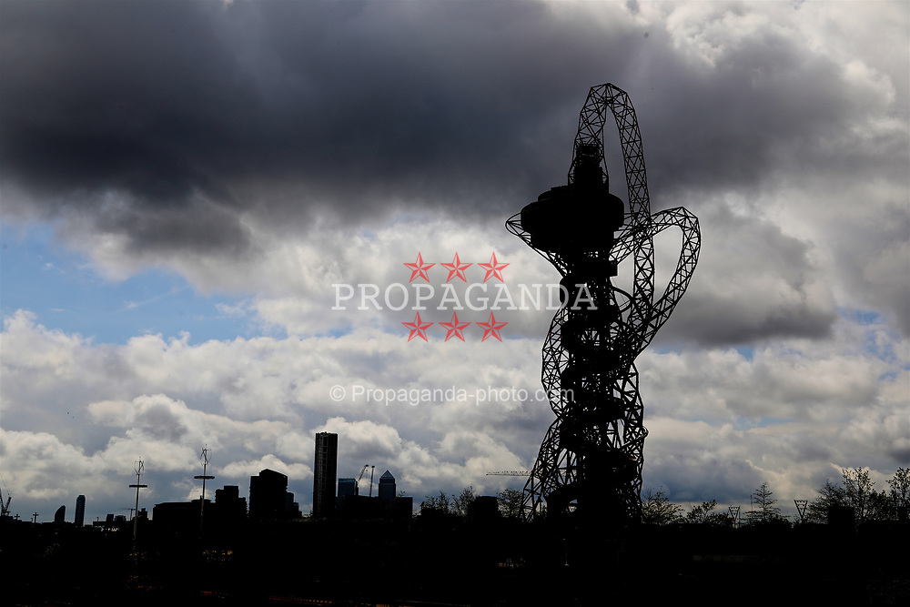 LONDON, ENGLAND - Saturday, April 22, 2017: A view of Anish Kapoor's ArcelorMittal Orbit, pictured before the FA Premier League match against Everton. (Pic by David Rawcliffe/Propaganda)