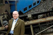 Nederland, Eijgelshoven, 20040421<br /> Gerrit Duijkers (71)<br /> Voormalig bankwerker, ondergronds technisch opzichter, Staatsmijn Emma 1955-1965, Hoensbroek<br /> Hier gefotografeerd op de bijna afgegraven steenberg van de mijn de Julia nabij de Hopel.<br /> <br />  mijnwerker