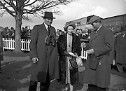 Irish Grand National at Fairyhouse (Easter Monday)..Mr and Mrs J. A. Wood (left and centre) owners of 'Overshadow' who won the Irish National..Mr C. Magnier (right), trainer and part owner of Overshadow.06/04/1953 At 13 years Oldest horse ever to win,