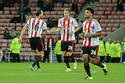 Sunderland defender John O'Shea congratulates Sunderland forward, on loan from Rennes, Ola Toivonen  on his goal during the Capital One Cup match between Sunderland and Manchester City at the Stadium Of Light, Sunderland, England on 22 September 2015. Photo by Simon Davies.