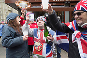 UNITED KINGDOM, Windsor: 06 May 2019 <br /> Royal supporters standing outside Windsor Castle celebrate the news of Meghan Duchess of Sussex giving birth to a baby boy.<br /> Rick Findler