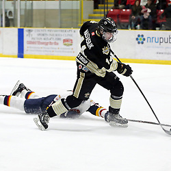 WELLINGTON, ON - FEBRUARY 10: Matt Nastasiuk #14 of the Trenton Golden Hawks tries to keep the puck from  Quinn Hanna #14 of the Wellington Dukes in the second period on February 10, 2019 at Wellington and District Community Centre in Wellington, Ontario, Canada.<br /> (Photo by Ed McPherson / OJHL Images)