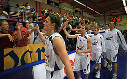 Robert Troha, Aljaz Janza, Jure Mocnik of Helios and his fans after second final match of UPC Telemach league and Slovenian  National Championship  between KK Helios Domzale, Domzale and Union Olimpija, Ljubljana, Slovenia, on May 31, 2008, in Komunalni center hall in Domzale. Match was won by Helios Domzale 93:88. (Photo by Vid Ponikvar / Sportal Images)