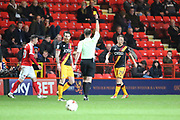 Bradford City defender Anthony (Tony) McMahon (29) yellow card during the EFL Sky Bet League 1 match between Charlton Athletic and Bradford City at The Valley, London, England on 14 March 2017. Photo by Matthew Redman.