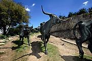 Dallas, TX, USA, April 1st 2005: Texas Longhorn Cattle Sculpture at Pioneer Plaza.<br /> <br /> Photo: Orjan F: Ellingvag/ Dagbladet/ Corbis *** Local Caption ***