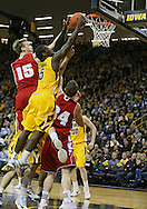 January 19 2013: Wisconsin Badgers forward Sam Dekker (15) and Iowa Hawkeyes guard Anthony Clemmons (5) battle for a rebound during the second half of the NCAA basketball game between the Wisconsin Badgers and the Iowa Hawkeyes at Carver-Hawkeye Arena in Iowa City, Iowa on Sautrday January 19 2013. Iowa defeated Wisconsin 70-66.