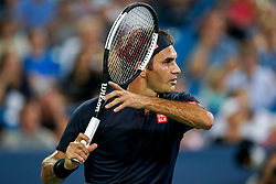 August 17, 2018 - Cincinnati, OH, U.S. - CINCINNATI, OH - AUGUST 17: Roger Federer (SUI) prepares to return a serve during the Western & Southern Open at the Lindner Family Tennis Center in Mason, Ohio on August 17, 2018. (Photo by Adam Lacy/Icon Sportswire) (Credit Image: © Adam Lacy/Icon SMI via ZUMA Press)