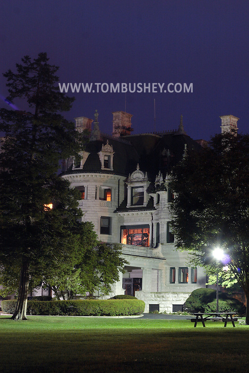 Middletown, N.Y. - Morrison Hall is lit up at night on the campus of Orange County Community College on Oct. 10, 2007. The 40-room mansion, which is now used for offices, features a large stained glass window designed by Louis Comfort Tiffany.