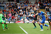 Peterborough United forward Matt Godden (9) scoring for Posh during the EFL Sky Bet League 1 match between Peterborough United and Portsmouth at London Road, Peterborough, England on 15 September 2018.