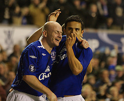 Liverpool, England - Wednesday, December 5, 2007: Everton's Tim Cahill celebrates scoring the only goal of the game against Zenit St. Petersburg with team-mate Lee Carsley during the UEFA Cup Group A match at Goodison Park. (Photo by David Rawcliffe/Propaganda)