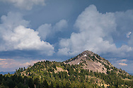 Afternoon thunderstorm clouds building over Lassen Volcanic National Park, California