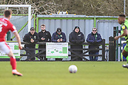 Forest Green Rovers ground staff watch on during the EFL Sky Bet League 2 match between Forest Green Rovers and Walsall at the New Lawn, Forest Green, United Kingdom on 8 February 2020.