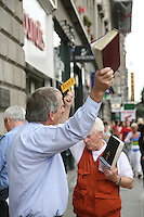 Religious preachers on Henry Street in Dublin Ireland