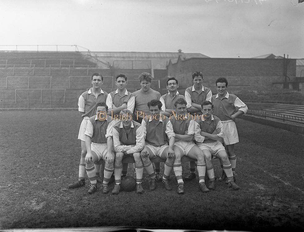 21/02/1958<br /> 02/21/1958<br /> 21 February 1958<br /> Soccer; St Patrick's Athletic v Cork Hibernians at Dalymount Park, Dublin. The St Pat's team