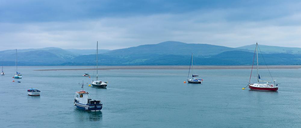 Sailing boats moored in Dyfi estuary at Aberdyfi, Aberdovey, Snowdonia, Wales