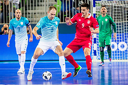Kristjan Cujec of Slovenia and Marko Radovanovic of Serbia during futsal match between Slovenia and Serbia at Day 1 of UEFA Futsal EURO 2018, on January 30, 2018 in Arena Stozice, Ljubljana, Slovenia. Photo by Ziga Zupan / Sportida