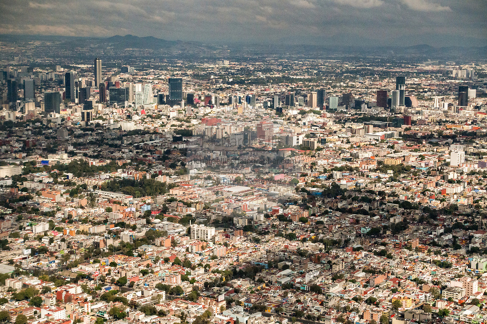 Aerial view showing the haze of pollution over the center city October 25, 2017 in Mexico City, Mexico. Mexico City is the capital of Mexico and and the most populous city North America.