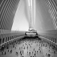 Commuters milling about in the Santiago Calatrava World Trade transit hub / shopping mall in Battery Park City.