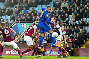 Cardiff City striker Kenneth Zohore (10) takes a shot at goal during the EFL Sky Bet Championship match between Aston Villa and Cardiff City at Villa Park, Birmingham, England on 10 April 2018. Picture by Dennis Goodwin.