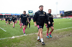 A general view of Exeter Chiefs players leaving the field prior to the match - Mandatory byline: Patrick Khachfe/JMP - 07966 386802 - 30/03/2018 - RUGBY UNION - Kingsholm Stadium - Gloucester, England - Bath Rugby v Exeter Chiefs - Anglo-Welsh Cup Final