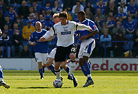 Photo: Steve Bond.<br />Leicester City v Derby County. Coca Cola Championship. 06/04/2007. Jon Macken (centre) breaks clear