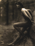 Fred Holland Day, 1864-1933 photographer:Nude youth, with laurel wreath, leaning against rock, exhibited as 'Study for Endymion.'  1907.