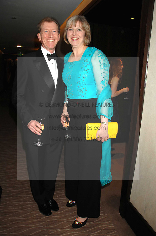 THERESA MAY MP and her husband PHILIP MAY at the 2007 Costa Book Awards held at The Intercontinental Hotel, One Hamilton Place, London W1 on 22nd January 2008.<br /><br />NON EXCLUSIVE - WORLD RIGHTS (EMBARGOED FOR PUBLICATION IN UK MAGAZINES UNTIL 1 MONTH AFTER CREATE DATE AND TIME) www.donfeatures.com  +44 (0) 7092 235465