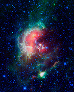 An infrared image from NASA's WISE, showcases the Tadpole nebula, a star-forming hub in the Auriga constellation about 12,000 light-years from Earth.