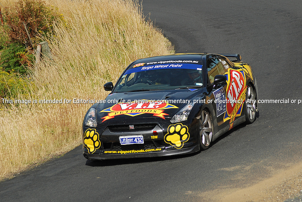 432 Klark Quinn & Toni Feaver..2008 Nissan GT-R.Day 2.Targa Wrest Point 2010.Southern Tasmania.31st of January 2010.(C) Sarah Biggin.Use information: This image is intended for Editorial use only (e.g. news or commentary, print or electronic). Any commercial or promotional use requires additional clearance.
