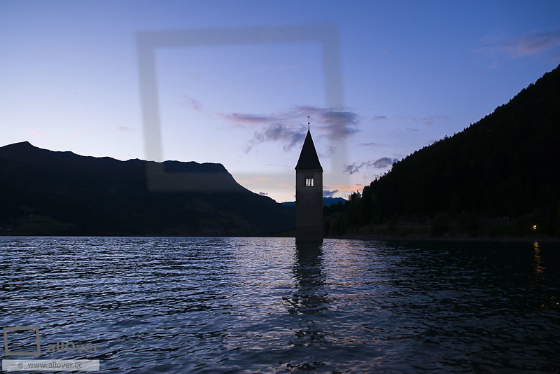 Bell Tower in Lagio di Resia, Reschensee, South Tyrol, Italy, Lagio di Resia