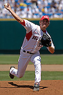 Georgia's Trevor Holder pitched 2.1 shut out innings against Oregon State.  Oregon State eliminated Georgia with a 5-3 win at the College World Series at Rosenblatt Stadium in Omaha, Nebraska, June 19, 2006.