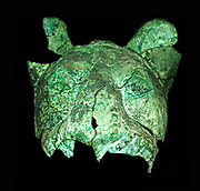 Copper alloy heads of two lions of cubs. Models of lions may have acted as guardians figures at the entrance to the temple.