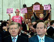 May 11,2010 - Washington, District of Columbia USA - Protesters stand behind Dave Nagel, Executive VP, BP America and Lamar McKay, president and chairman of BP America Inc., as they await the start of a hearing before the Senate Energy and Natural Resources Committee  on the accident in the Gulf of Mexico involving the offshore oil rig Deepwater Horizon.(Credit Image: © Pete Marovich/ZUMA Press)