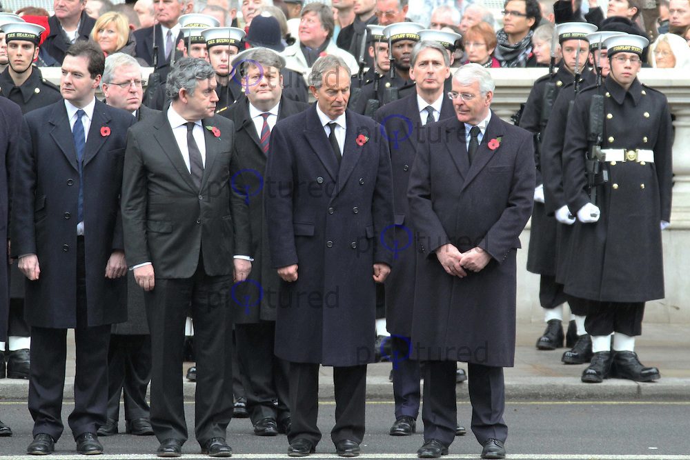 Chancellor of the Exchequer George Osborne; Gordon Brown; Tony Blair; John Major Remembrance Sunday - Cenotaph Service, Whitehall, London, UK, 14 November 2010:  Contact: Ian@Piqtured.com +44(0)791 626 2580 (Picture by Richard Goldschmidt)