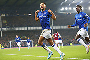 Everton forward Dominic Calvert-Lewin (9) celebrates his goal 1-0  during the Premier League match between Everton and Burnley at Goodison Park, Liverpool, England on 26 December 2019.