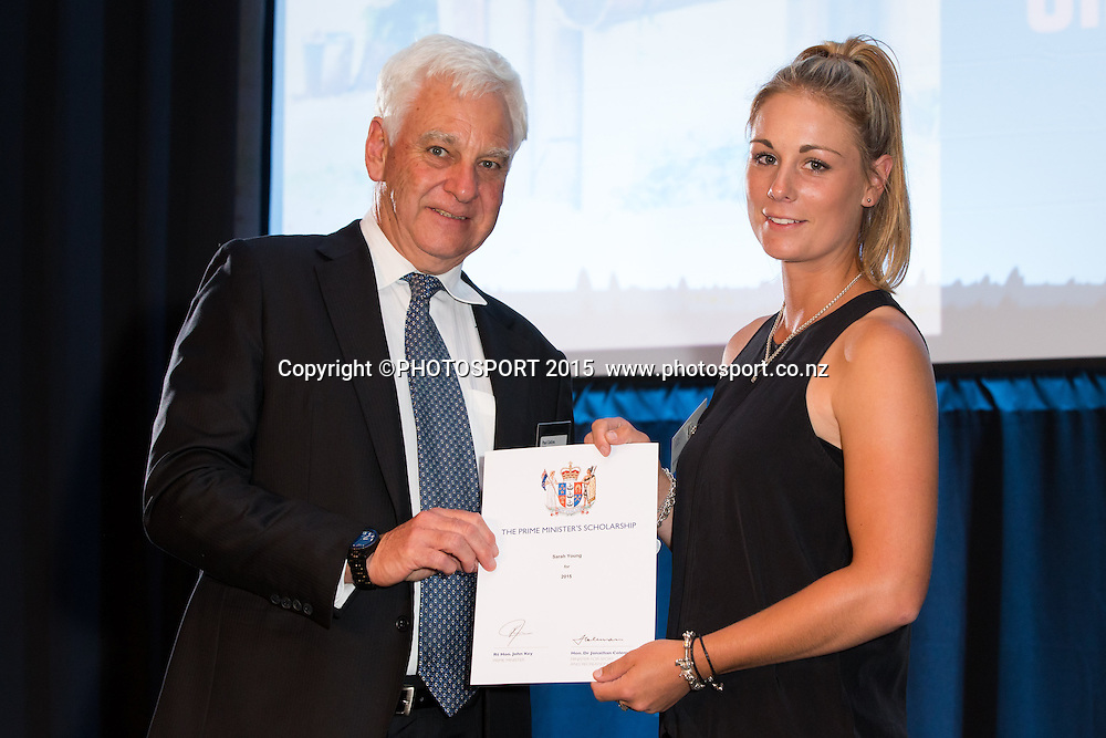Sarah Young receives certificate from HPSNZ chairman Sir Paul Collins at the Prime Minister's Scholarship certificate presentation evening, Sir Don Rowlands Centre, Lake Karapiro, Cambridge, New Zealand, Monday 30 March 2015. Photo: Stephen Barker/Photosport.co.nz
