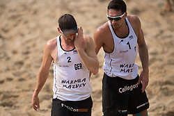04.07.2013, Lake Szelag, Stare Jablonki, POL, FIVB Beach Volleyball Weltmeisterschaft, im Bild Kay Matysik (#2 GER), Jonathan Erdmann (#1 GER), // during the FIVB Beach Volleyball World Championships at the Lake Szelag, Stare Jablonki, Poland on 2013/07/04. EXPA Pictures © 2013, PhotoCredit: EXPA/ Eibner/ Kurth ***** ATTENTION - OUT OF GER *****