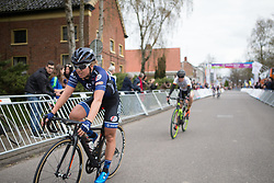 Susanne Andersen (NOR) of Hitec Products Cycling Team crosses the finish line in second place of Stage 4 of the Healthy Ageing Tour - a 126.6 km road race, starting and finishing in Finsterwolde on April 8, 2017, in Groeningen, Netherlands.