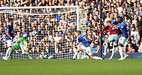 Football - 2018 / 2019 Premier League - Everton vs. West Ham United<br /> <br /> Andriy Yarmolenko of West Ham United scores his second goal at Goodison Park.<br /> <br /> COLORSPORT/LYNNE CAMERON