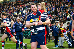 Ryan Bevington of Bristol Rugby walks out with the mascots - Rogan/JMP - 13/04/2018 - RUGBY UNION - Ashton Gate Stadium - Bristol, England - Bristol Rugby v Doncaster Knights - Greene King IPA Championship.