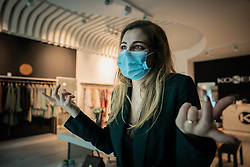 Catarina Conde, managing partner of Koker, clothing and footwear store, will open doors tomorrow after the end of the state of emergency due to the Covid Pandemic19. Braga, Portugal on May 5, 2020. Photo by Gonçalo Delgado/Global Images/Atlantico Press/ABACAPRESS.COM