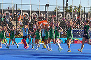 The Ireland team run towards the fans during the Vitality Hockey Women's World Cup 2018 Finals Gold Medal match between the Netherlands and Ireland, at the Lee Valley Hockey and Tennis Centre, QE Olympic Park, United Kingdom on 5 August 2018. Picture by Martin Cole.