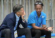 IAAF president Sebastian Coe (left) and Gail Devers talk during a news conference prior to the IAAF World Relays, Friday, May 10, 2019,  in Yokohama, Japan.